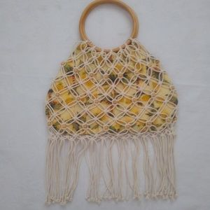 Handbags - Fringed open knit bag ring wood handle and beads